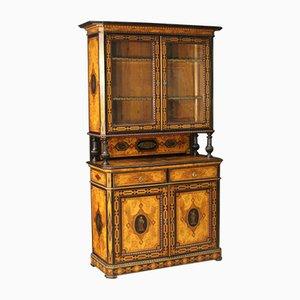 Antiker Englischer Schrank mit Intarsie, 1870er