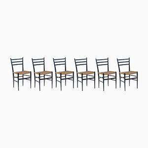 Chaises de Salon Mid-Century Noircies, Set de 6