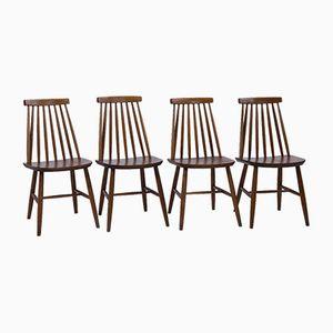 Mid-Century Esszimmerstühle mit Lamellen-Rückenlehnen, 4er Set