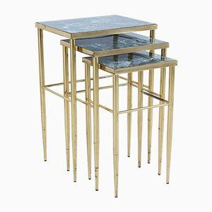 Tables Gigognes Vintage en Laiton & Marbre Vert