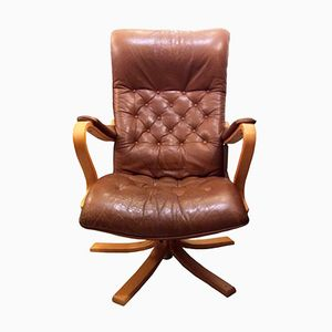 Vintage Swedish Leather Armchair by Gustaf Axel Berg for Bröderna Andersson