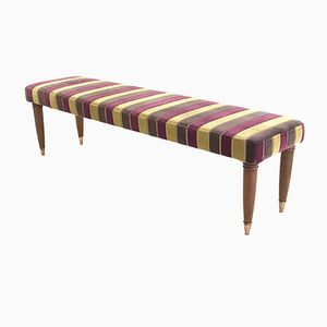 Italian Walnut and Fabric Bench, 1940s