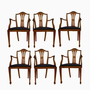 Vintage Spanish Dining Armchairs from Valenti, Set of 6