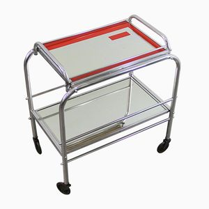 Art Deco Chrome and Mirrored Bar Trolley