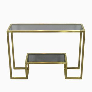 Vintage Italian Brass and Glass Console Table, 1970s