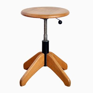 Stool in Solid Wood and Metal from Giroflex, 1961
