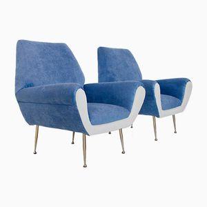 Italienische Vintage Sessel in Weiß & Blau, 1960er, 2er Set