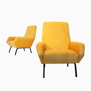 Italian Yellow Velvet Armchairs from Busnelli, 1960s, Set of 2