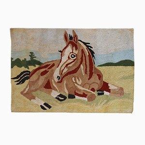 Vintage American Handmade Hooked Rug, 1940s