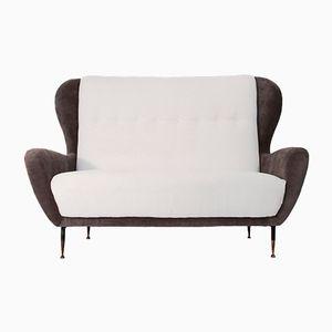 Italian White & Grey Velvet Sofa, 1950s