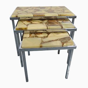 Mid-Century Marble and Stone Resin Nesting Tables by Marindo Blad, 1950s, Set of 3