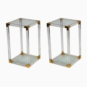 Mid-Century Side Tables in Lucite, Acrylic and Brass, 1970s, Set of 2
