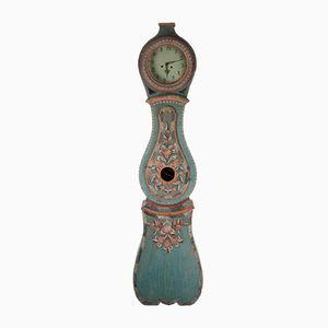 Antike Schwedische Mora Uhr aus Blau Bemalter Buche