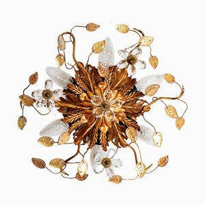 Hollywood Regency Gilt Florentine Flush Light with Leafs and Crystal Flowers
