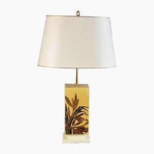 Lampe de Bureau en Céramique avec Décoration Feuille de Palmier, Belgique,1960s