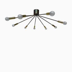 Italienischer Messing Sputnik Kronleuchter mit Neun Leuchten, 1950er
