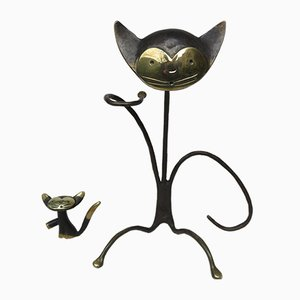 Austrian Cat Bottle Holder & Corkscrew from Walter Bosse, 1950s