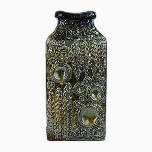 Reliefdekor Vase mit Metallischer Glasur von Carstens, 1960er