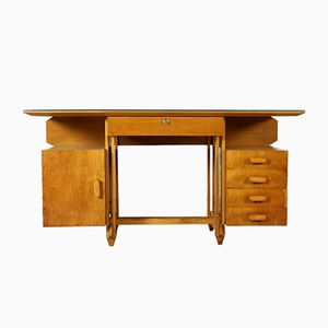 Italian Birch Plywood Desk with Glass Top, 1950s