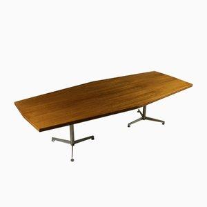 Langer Konferenztisch aus Nussholz Furnier von Osvaldo Borsani für Tecno, 1960er