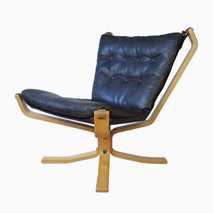 Mid-Century Falcon Chair with Buffalo Leather by Sigurd Ressell