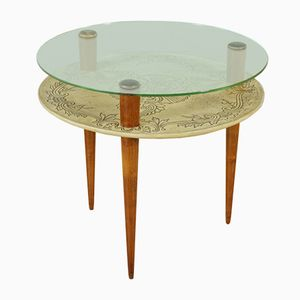 Italian Beech, Parchment, & Glass Coffee Table, 1950s