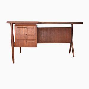 Danish Teak Asymmetrical Desk With Bar Cabinet, 1950s