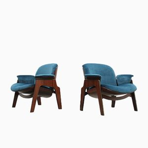 Mid-Century Italian Lounge Chairs by Ico Parisi for MIMI, Set of 2