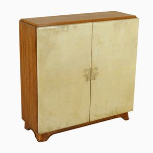 Vintage Italian Mahogany Parchment Paper Cabinet, 1950s
