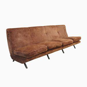 Italienisches Mid-Century Samt 4-Sitzer Triennale Sofa von Marco Zanuso für Arflex, 1950er