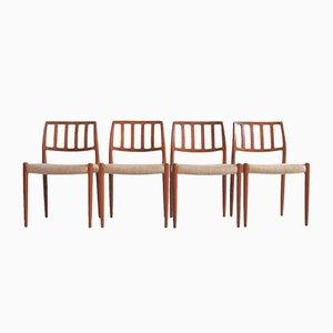 Vintage Esszimmerstühle von N. O. Møller, 1970er, 4er Set
