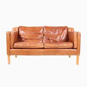 Danish Tan Leather Sofa, 1980s