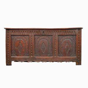Antique Large Carved Oak Panelled Trunk