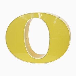 Vintage Leuchtbuchstabe O in Gelb
