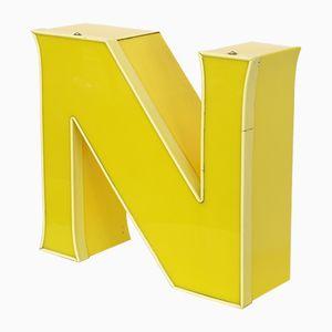Vintage Leuchtbuchstabe N in Gelb