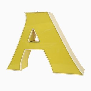 Vintage Leuchtbuchstabe A in Gelb