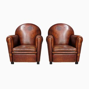 Vintage French Cognac Leather Club Chairs, Set of 2