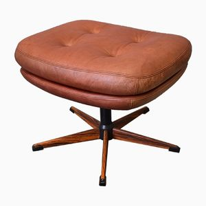 Mid-Century Danish Tan Leather Buttoned Footstool, 1960s