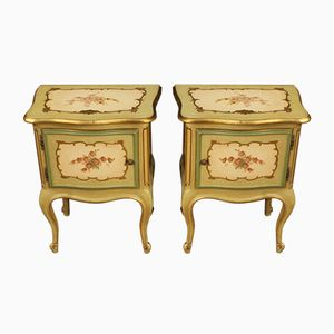 Venetian Lacquered and Painted Bedside Tables, 1970s, Set of 2