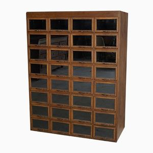 Oak Haberdashery Shop Cabinet with 32 Drawers, 1930s