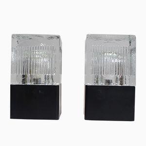 Schreibtischlampen aus Glas & Metall, 1970er, 2er Set