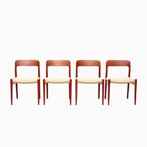 Vintage Model No.75 Teak and Papercord Dining Chairs by Niels O. Møller for J.L. Møller, Set of 4