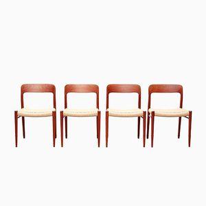 Vintage Modell Nr.75 Teak und Papierkordel Esszimmerstühle von Niels O. Møller für J.L. Møller, 4er Set