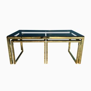 Vintage Brass & Smoked Glass Nesting Tables