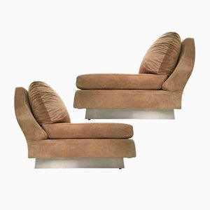 Suede Lounge Chairs by Willy Rizzo for Studio Willy Rizzo, 1969, Set of 2