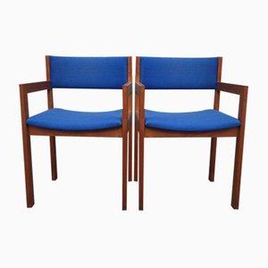 Kubistische Mid-Century Teak Armlehnstühle von Erik Kirkegaard für Høng, 1960er, 2er Set