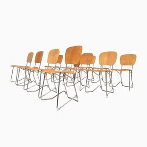 Vintage Birch and Aluminium Chairs by Armin Wirth for Aluflex, Set of 12