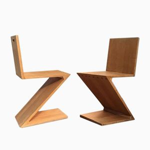 Zig Zag Chairs by Gerrit Thomas Rietveld for G.A. van de Groenekan, 1950s, Set of 2