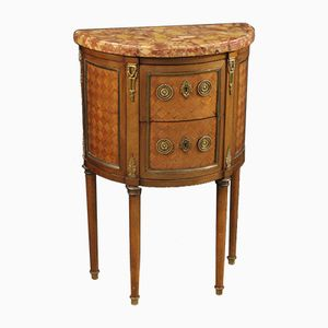 Small French Inlaid Demi Lune Commode with Marble Top, 1920s