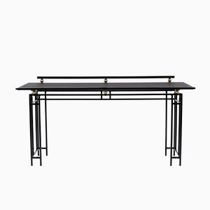 Desk with Black Metal Structure and Black Leatherette Top, 1950s